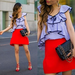 Sasa Zoe - Top, Skirt, Earrings, Heels, Bag - IT'S ALL ABOUT RUFFLES BABE