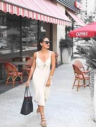 Alexandra Lord - Nordstrom Tie Front Midi Dress, Quay Genesis Sunglasses, Coach Market Tote, Daniel Wellington Melrose Watch, Matisse Flatforms - SUMMER CHIC