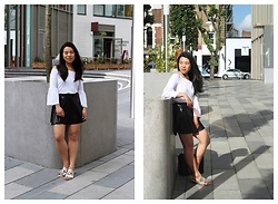 Thuy Pham - Primark Off Shoulder Bell Blouse, Forever 21 A Line Skirt, Primark Silver Sliders - Slipper trend