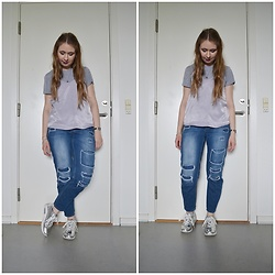Mucha Lucha - Weekday T Shirt, H&M Top, Topshop Jeans, Missguided Sneakers - Grey and lilac