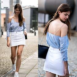 Jacky - Missguided Shirt, Adidas Sneakers, Gucci Bag - Cut Out Shirt and White Denim