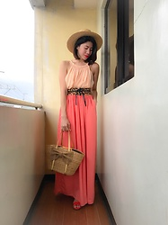 Cassey Cakes - Mango Dress, Mango Maxi Skirt, Mango Leopard Belt, Mango Sandals, H&M Hat - Corals