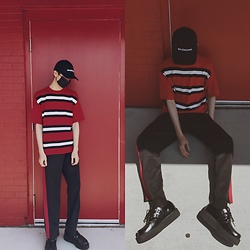 Martin Roh - Balenciaga Black Cap, T.U.K. Footwear Creepers, Vetements Socks - Red