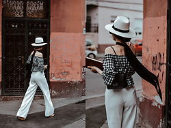Andreea Birsan - Gingham Off Shoulder Top, White Wide Leg Pants, White Straw Fedora Hat, Scarf - Gingham top and white wide leg pants