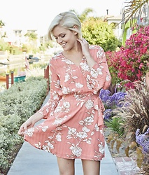 HER. Boutique - Minkpink Lovina Coral Pink Floral Print Wrap Dress - Wedding Guest