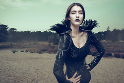"Sharon Boucquez - Haute Gothure Bodysuit, Haute Gothure Shoulderpads - Collection ""Fight like a Warrior"" 