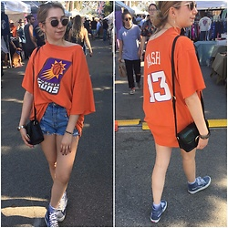 Jessica Halt - Vintage Suns Shirt, Banana Republic Sunglasses, Forever 21 Metal Eyeleted Shorts, Topshop Green Reptile Purse, Vans Shoes, H&M Striped Socks - Melrose Trading Post
