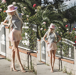 Sarah Loven - Lack Of Color Hat, Topshop Tee, Band Of Gypsies Silk Shorts, Ego Official Shoes Heels, Topshop Scarf - Dear, Vogue