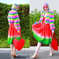 Kate Hannah - Lazy Oaf Fur Face Jacket, Unique Vintage Watermelon Dress, Kate Spade Heart Bag, Public Desire Sian Block Heel Mule, Tibbs & Bones Rose Heart Shades - Tutti Fruitti