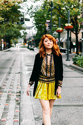Amanda Smith - Free People Printed Sheer Top, Urban Outfitters Velvet Romper, Charlotte Russe Black Fitted Blazer - Yellow Meets Downtown