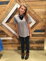 Kaitlin Manolio - Grey Choker Neck Top, Black And Sliver Longhorn Choker - Rainy Day Wear