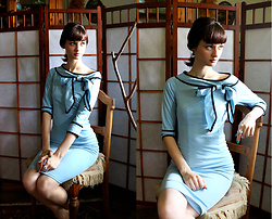 Sophia A - Fashionmia Light Blue Dress - Sixties