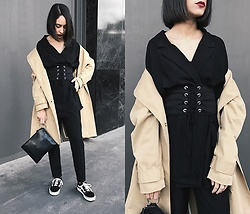 Esther L. - Zara Eyelet Corset, Missguided Oversized Blazer, Mango Beige Trench Coat, Mango Ring Bag, Vans Old Skool - THE CORSET