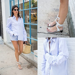 URBAN CREATIVI-TEA - Thom Browne Sunglasses, Céline Shoes, Levi's® Shorts, Céline Shirt, Stone Barn Bag - Summer Daze / urbancreativi-tea