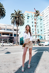 Jessi Malay - Lovely Pepa Barbados Skirt, Tony Bianco Suede Mules, Saint Laurent The Monogram Clutch - California Vibes