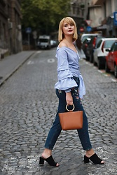Ana Vukosavljevic - Mango Bag, Zaful Jeans, Rosegal Blouse, Pink Basis Mules, Jane Konig Earrings - How to be more confident in your photos?