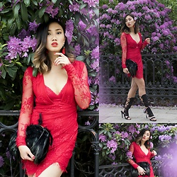 Louise Xin - Nelly Lace Dress, Xin Feather Bag, Nelly Lace Up Heels - Happy midsummer