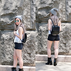Sandy Y - King&Fifth Co Grey Beanie, Charlotte Russe Green Reflective Sunglasses, Forever 21 Mini Backpack, Forever 21 White Crochet Tank, Forever 21 Black Jean Shorts, Forever 21 Black Patent Lace Up Ankle Boots - Summer transition