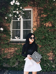 Ellen Lee - Zara Black Sheer Top, Mango White Denim Skirt, Zara Mini Bag With Stripes - Flowers, bow and stripes