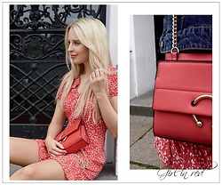 Leni - Mango Red Dress With Ruffles, Mango Statement Bag - RED DRESS HITS THE STREET