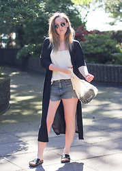 Jenaly Enns - Zara Lone Cardigan, Aritzia Camisole, Clare Vivier Netty Bag, H&M Cross Strap Sandals - Summer time