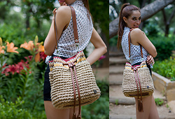 S C Stavrouλιτσα MP - Bershka High Waist Shorts, Terranova Polka Dots Blouse, Miss Polyplexi Bag - In the Garden
