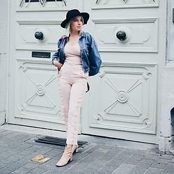 Emily Van Snick - Bershka Top, Zara Pants, & Other Stories Shoes, H&M Hat, Think Twice Jeans Jacket - Pink matters