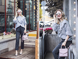 Margarita Maslova - Stradivarius Ruffles Sweater, Rebecca Minkoff Pink Bag, Michael Kors Watches - Total grey