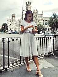 Nika Rema - Mango Shoes, Zara Skirt, Zara T Shirt, Zara Bag, Just Cavalli Glasses - Madrid inspiration
