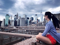 Jade Zhu - Topshop Red Short, Uniqlo Shirt Dress - Brooklyn Bridge