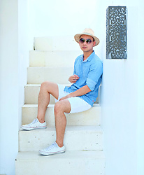 DADA FAB - Topman Hat, Uniqlo Denim Top, Asos White Shorts, Converse White Sneakers, Sunnies Philippines Sunglass - Monday Blues