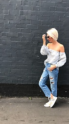 Amelia Tordoff -  - Destroyed Denim / Stripes
