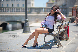 ManueLita - Shein Top Off Shoulders, Dolce & Gabbana Shorts, Pinko Clutch, Pollini Sandals - Black and pink