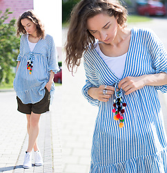 Iva K - Zara Striped Tunic - Strips & pompons