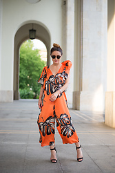 Cristina Feather - La Mode Toujours Silk Jumpsuit - Palm tree print