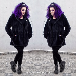 Uvita • - Romwe Furry Coat, Forever 21 Black Cotton Leggings, Dr. Martens Light Reflective - Minimalist Goth