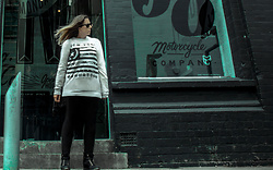 Shanna May - Ray Ban Black Ray Bans, New Look Black Leggings, New Look Black Perforated Panel Wedge Trainers, New York Large Sweater - These Things Happen...
