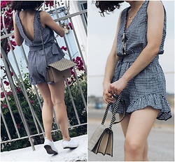 Theoni Argyropoulou - Shein Gingham Playsuit, Pull & Bear Sunglasses, H&M Bag, White Sneakers - Gingham Playsuit on somethingvogue.com
