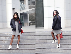 Vivi Valenzuela - Dafiti Puffy Jacket, Topshop T Shirt Dress - A PUFFY JACKET & A RED BAG