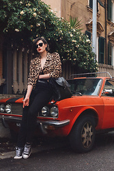 Wiktoria Celmer - Zara Leopard Jacket, No Name Leather Backpack, Converse, Zara Skinny Jeans - RIDE OR DIE