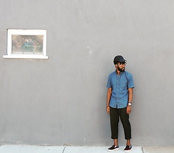 Sam Dapper - Goodwill Denim Shirt, Urban Outfitters Cropped Pants, Zara Denim & Plaid Loafers - Window