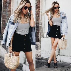 Maria De La Cruz - Haute & Rebellious Denim Jacket, Haute & Rebellious Call You Striped Bodysuit Tee White, Zara Heel Mules - Casual Summer + Straw Bag