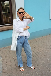 Anna Borisovna - Céline Sunglasses, Zara Shirt, Mango Earrings, Levi's® Jeans, Mango Shoes, Mango Bag - Celine Edge Sunnies <3