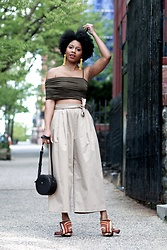 Monroe Steele - Vanessa Mooney Earrings, Aq/Aq Top, Emerson Thorpe Culottes, Madewell Bag, No 21 Mules - So You Wanna Move To New York City