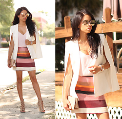 Karla Quinones - Bcbg Cape Blazer, Zerouv Mirrored Sunglasses, H&M Stripes Skirt, Aldo Lace Up Heels - Cape Effect