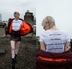 BEHINDHERMASK - Dolls Kill 2.0 Tee, River Island Bomber Jacket - You're so fuckin' special..