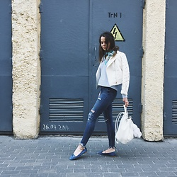 Kate Kamsa - Zara Studded Leather Jacket, Zara Ripped Jeans - 50 shades of blue