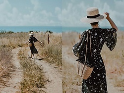 Andreea Birsan - Star Print Wrap Midi Dress, Straw Bag, Straw Boater Hat, Mules - W A N D E R E R