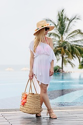 Meagan Brandon - Straw Pom Hat, Echo New York Caftan, Similar Straw Tote, Joie Sandals - Maternity Beachwear