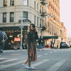 Ralizabeth Orellana - Free People Jacket, Zara Dress, Converse Sneakers, Backpack - Spring
